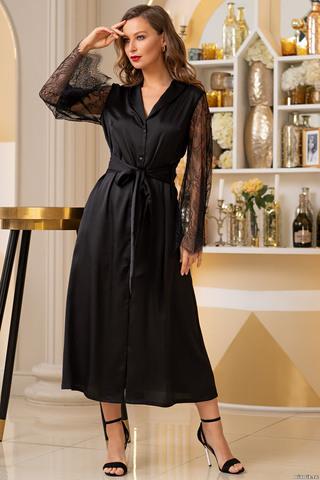 Длинный халат Mia-Amore с длинными рукавами выполнен из шелковистого искусственного полотна