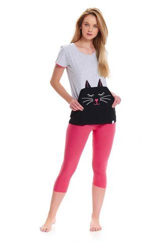 Серая футболка с котом + бриджи розового цвета PM