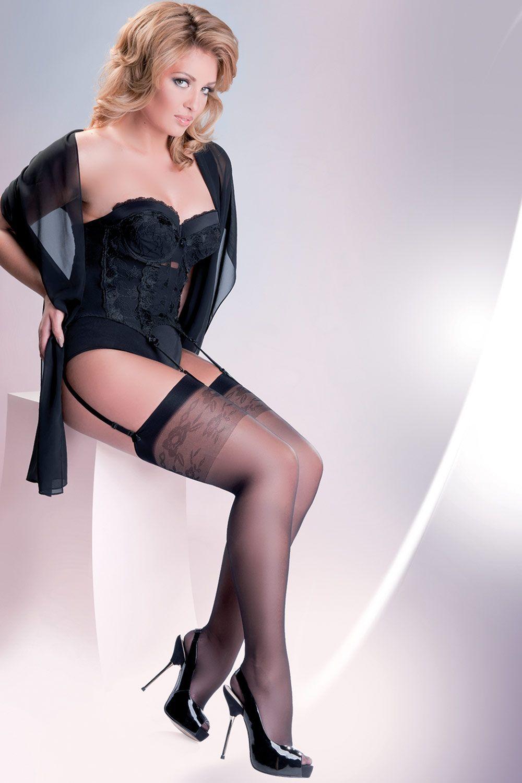 Черные чулки Katia Plus Size 20 den без силиконовой поддержки (под пояс) фото