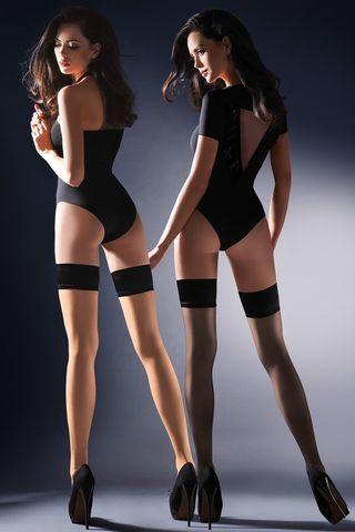 Телесные с черным чулки Lovia с резинкой шириной 7 см с силиконовой полосой