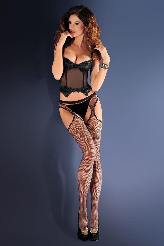 Черные чулки с поясом в сетку Strip Panty 151, декорированные кружевом фото