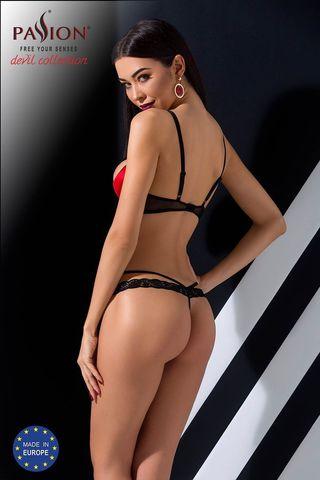 Эротический комплект белья Femmina состоит из бюста с полуоткрытыми чашечками на косточках и стрингов