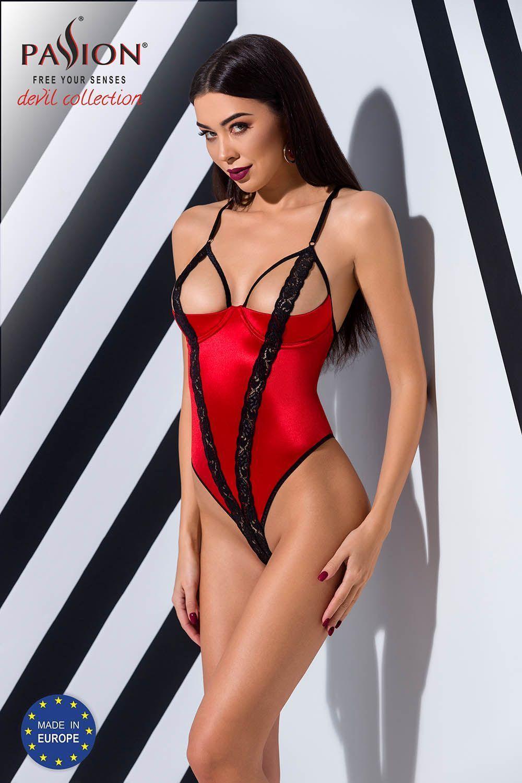 Соблазнительное боди Femmina выполнено из эластичного ткани красного цвета с черными кружевными вставками фото