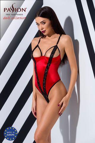 Соблазнительное боди Femmina выполнено из эластичного ткани красного цвета с черными кружевными вставками