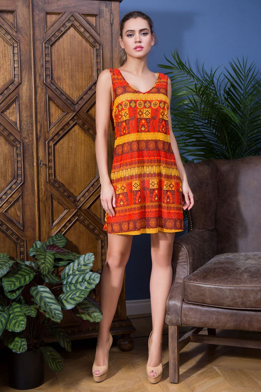 Короткая летняя комбинация Mia-Mia выполненая из эластичной сетки с ярким принтом фото