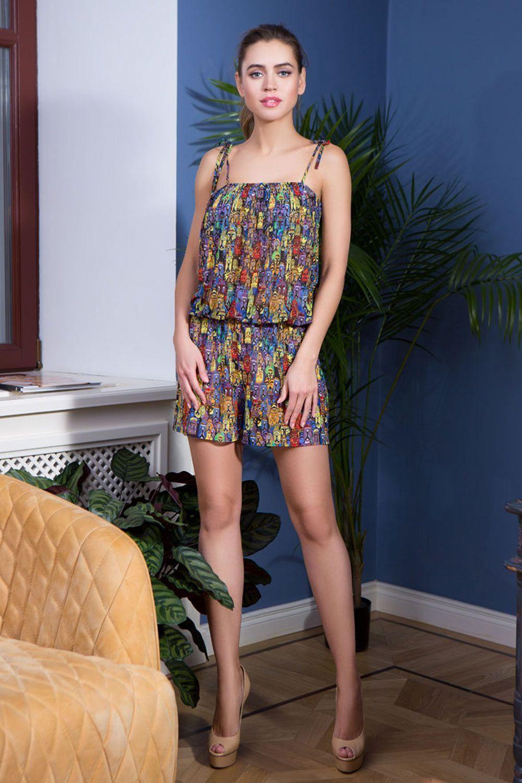 Комбинезон прямого силуэта Mia-Mia, на тонких лямках из эластичной сетки с ярким принтом фото
