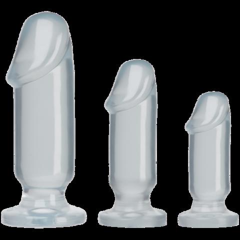 Анальные фаллоимитаторы в наборе 3 шт прозрачные Crystal Jellies - Anal Starter Kit - Clear