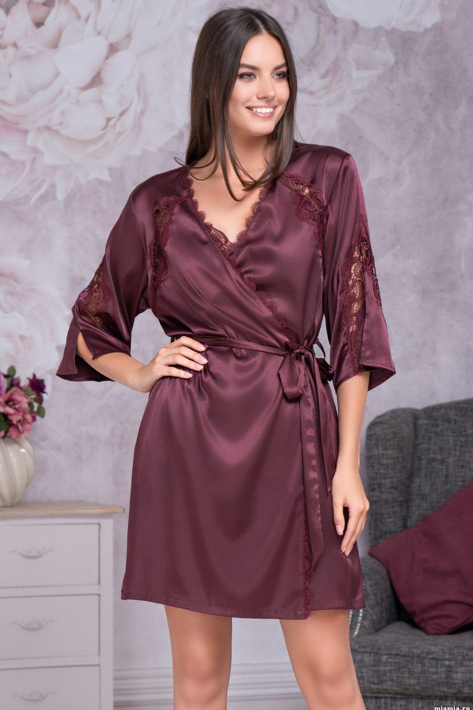 Классический халат – кимоно Mia-Mella, выполнен из однотонного искусственного шелка фото