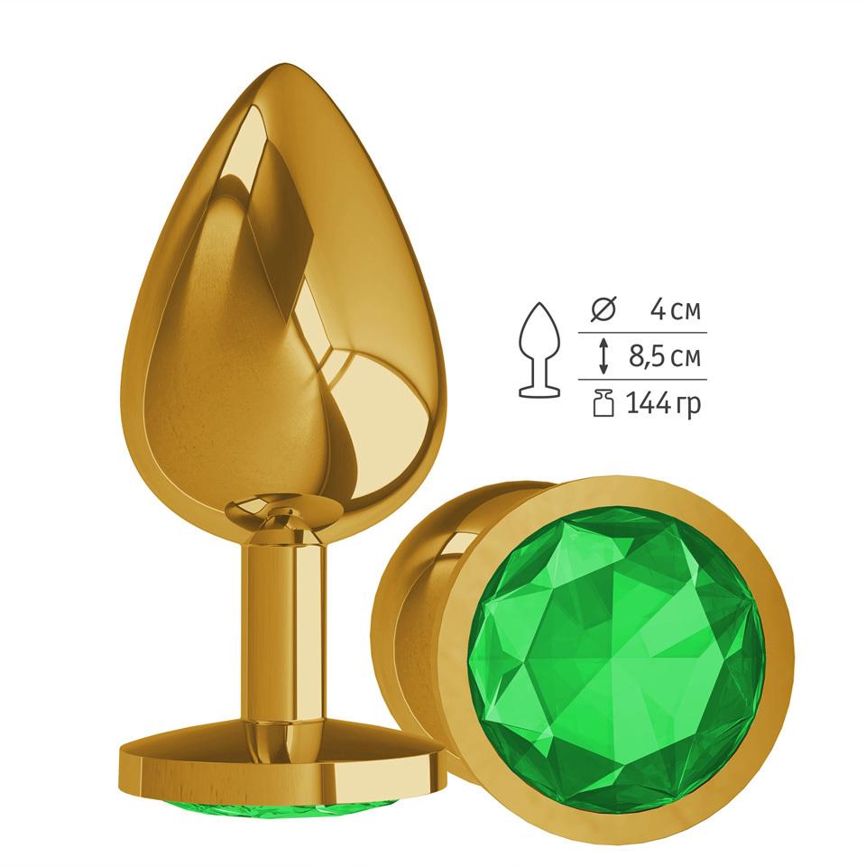 Gold Анальная втулка с зеленым кристаллом большая фото
