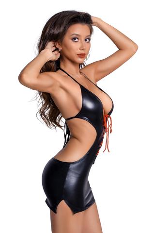 Платье Glossy из материала Wetlook с красной шнуровкой, черный, S