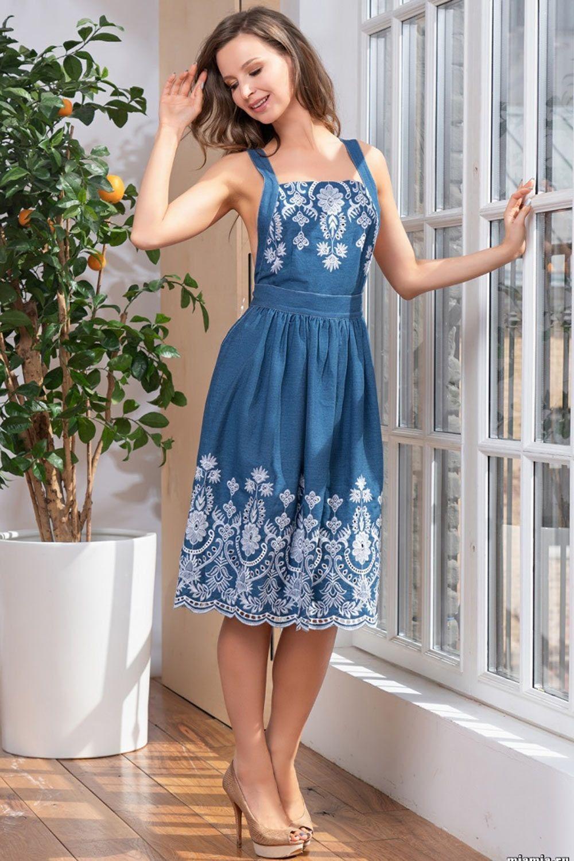 Сарафан-трансформер Mia-Mella из джинсового полотна с вышивкой фото