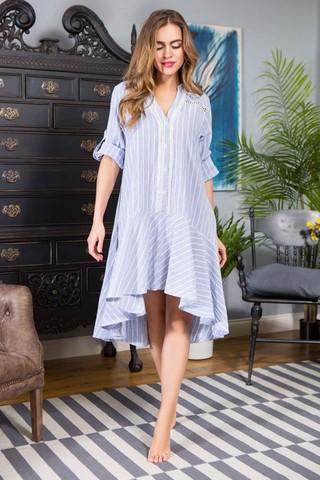 Платье Миа-Миа домашнее женское рубашечного кроя, выполненно из хлопковой ткани