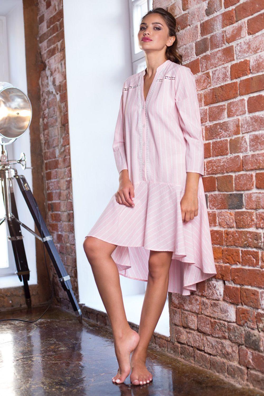 Платье Миа-Миа домашнее женское рубашечного кроя, выполненно из хлопковой ткани фото