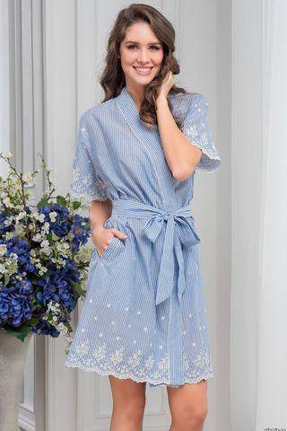 Короткий халат Mia-Amore из натурального хлопка в голубую полоску