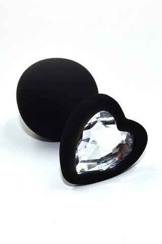 Черная анальная пробка из силикона с прозрачным кристаллом в форме сердца (Medium)