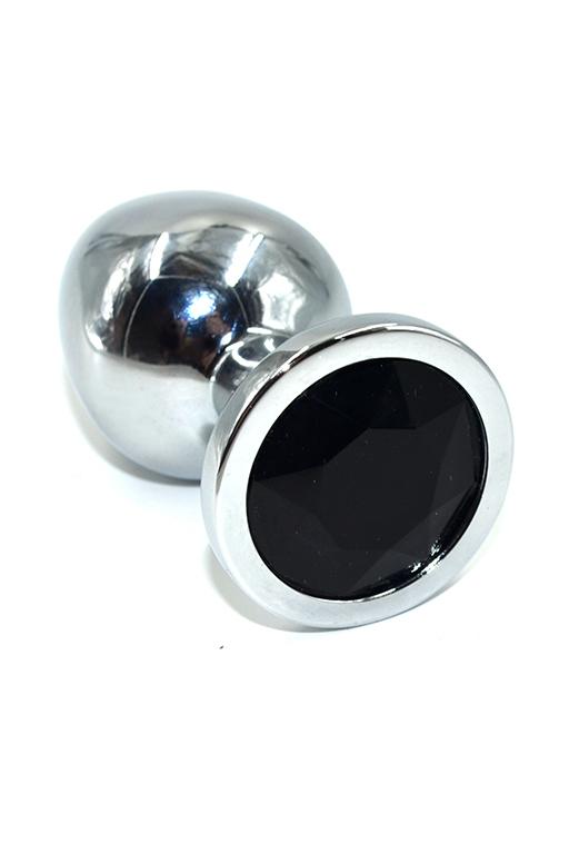 Серебряная анальная пробка с черным кристаллом (Medium) фото