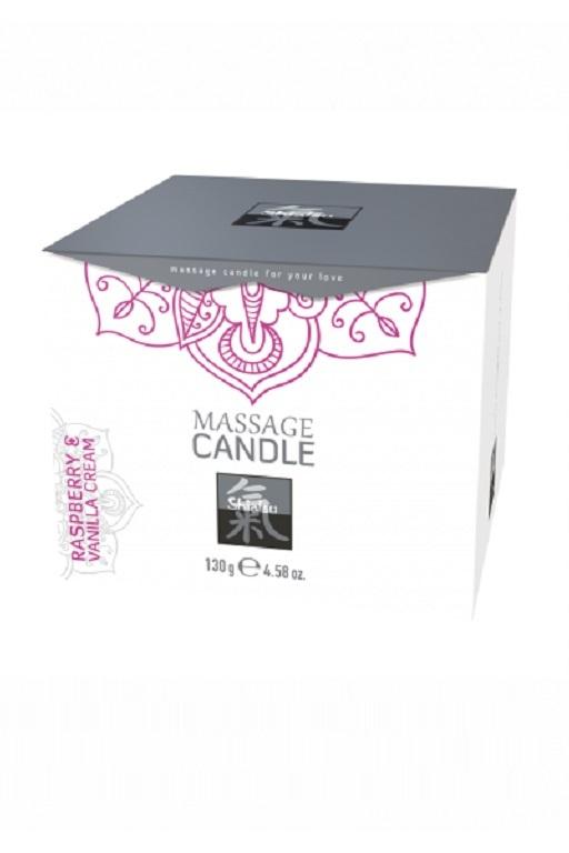 Массажная свечка с ароматом Малина & Ванильный. 130 гр. фото