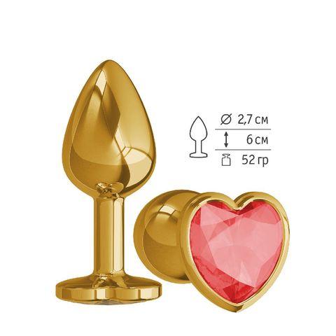 Анальная втулка Gold малая с красным кристаллом сердце