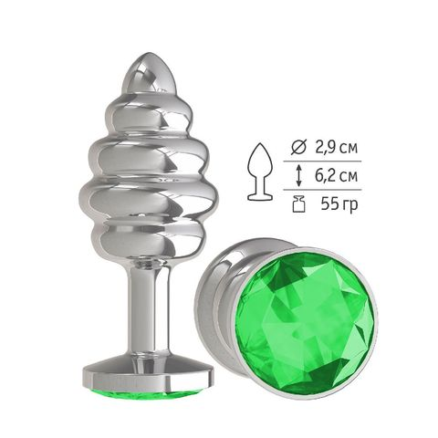 Анальная втулка Silver Spiral малая с зеленым кристаллом