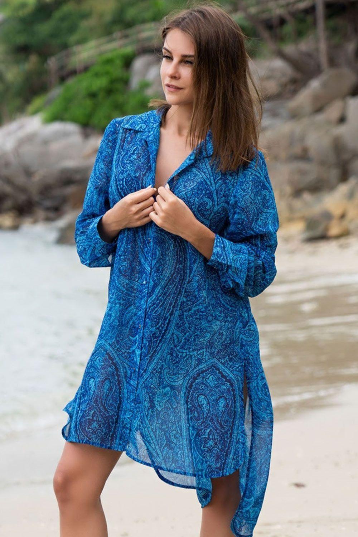 Платье-рубашка Mia-Amore с длинным рукавом выполнено из принтованного шифона в морской синей гамме фото