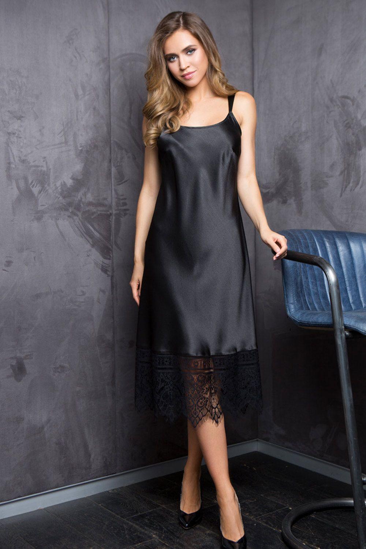 Удлиненное домашнее женское платье на регулируемых фигурных бретелях из однотонного сатина фото