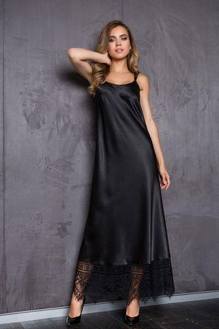 Длинное домашнее женское платье на регулируемых фигурных бретелях из однотонного сатина