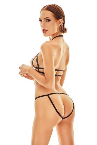 Черный эротический комплект нижнего белья выполнен из эластичных ремешков-резиночек