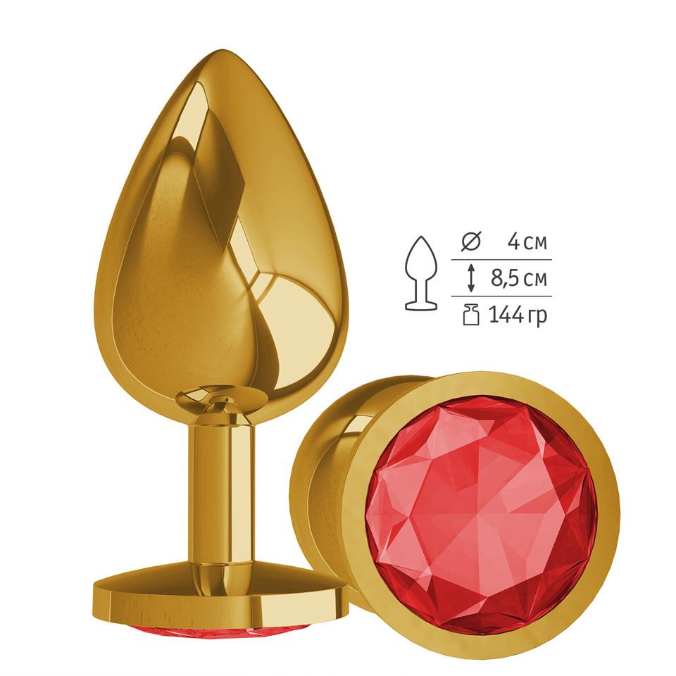 Gold Анальная втулка с КРАСНЫМ кристаллом большая фото