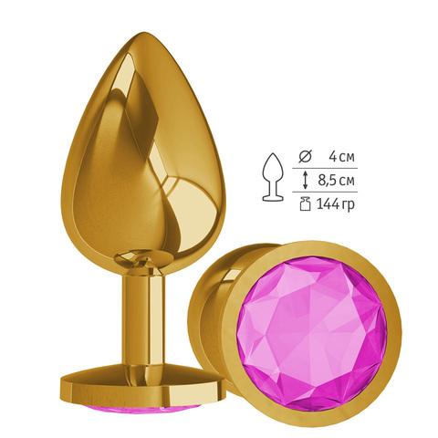 Gold Анальная втулка с Розовым кристаллом большая