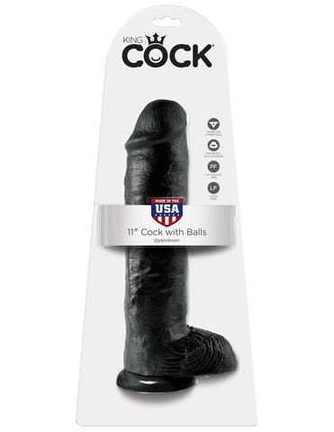 Фаллоимитатор на присоске 11 Cock with Balls черный King Cock