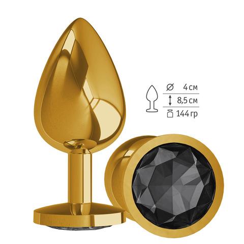 Gold Анальная втулка с Черным кристаллом большая