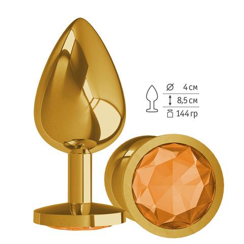 Gold Анальная втулка с Оранжевым кристаллом большая