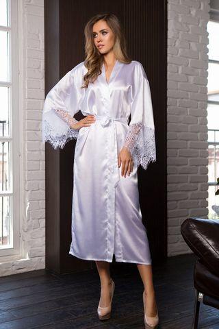 Длинный домашний женский халат из однотонного сатина