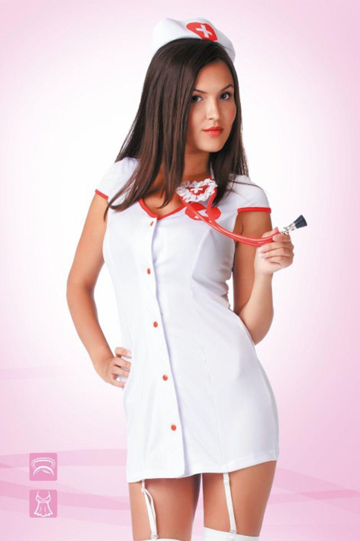 Белый костюм медсестры с остоит из короткого халатаикак с пажами и головного убора фото