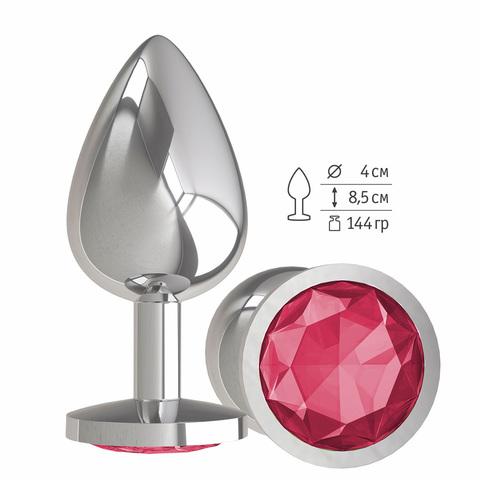 Анальная втулка Silver с малиновым кристаллом большая