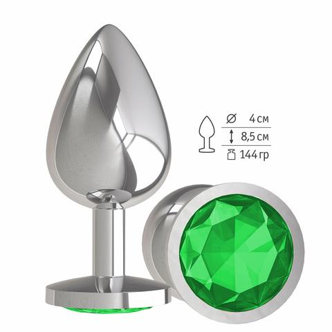 Анальная втулка Silver с зеленым кристаллом большая