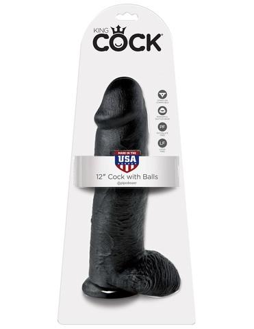Фаллоимитатор на присоске 12 Cock with Balls черный King Cock